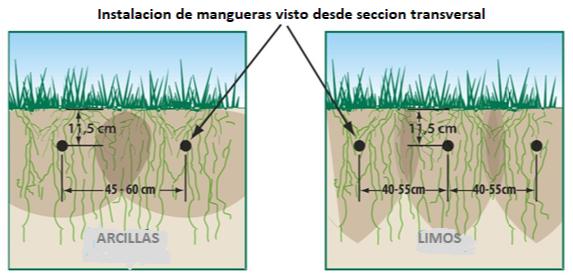 Ubicacion de mangueras de goteo en el suelo